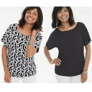 Chicos Tiled Geo Classic Dots Reversible Blouse M